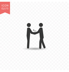 stick figure two business people do handshakes vector image