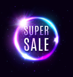 super sale banner neon light tube background vector image