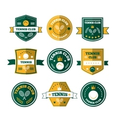 tennis sporting vintage emblems vector image