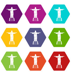 The christ the redeemer statue icon set color vector