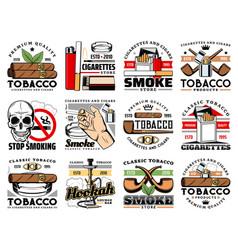 Tobacco products cigars shop hookah bar icons vector