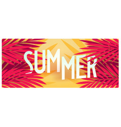 Tropical summer banner with palm leaves vector
