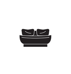 twin bed black concept icon twin bed flat vector image