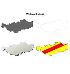 Walloon Brabant outline map set - Walloon version vector