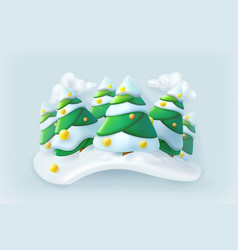 Winter forest christmas icon vector