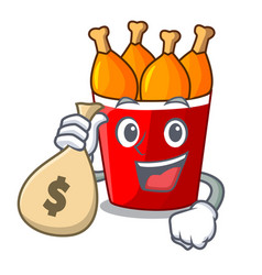 With money bag character bucket chicken fried fast vector
