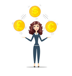 Woman holding gold coins vector