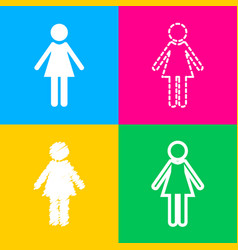woman sign four styles of icon on vector image