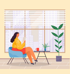 woman sits at armchair and reads document office vector image
