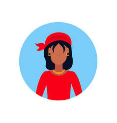 Woman wearing pirate costume face avatar happy vector