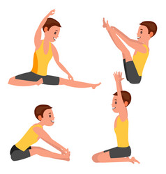 Yoga male in action meditation positions vector