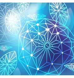 Abstract blue background with linear diamonds vector image