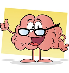 Cartoon Brain Giving The Thumbs Up vector image