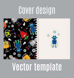 cover design with robots pattern vector image