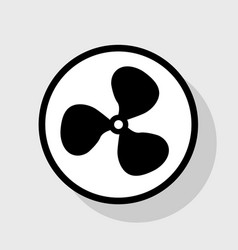fan sign flat black icon in white circle vector image vector image