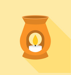 Oil burner icon with long shadow vector