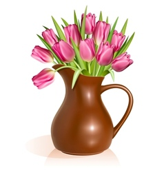 Pink tulips in clay pitcher vector image vector image