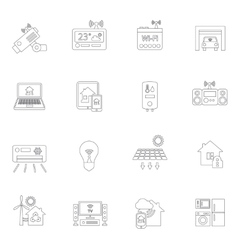 Smart home icons outline vector image vector image