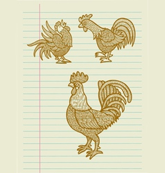 Vintage Decorative Rooster Sketches vector image vector image