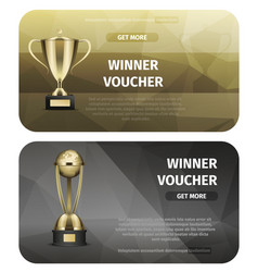winner voucher with gold trophy for victory vector image vector image