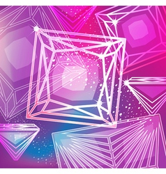 Abstract magenta background with linear diamonds vector image vector image