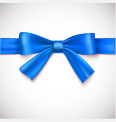 Blue ribbon with bow vector image vector image