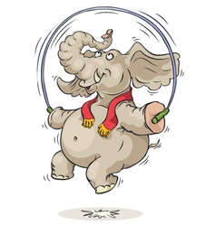 jumping elephant vector image vector image