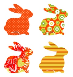 Abstract floral bunnies vector image vector image