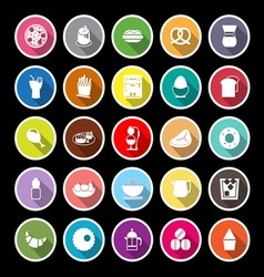 Easy meal flat icons with long shadow vector