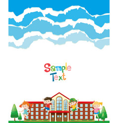 paper design with kids at school ground vector image