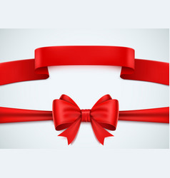 realistic red ribbon set on white background vector image vector image