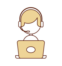 Call center agent with laptop avatar vector