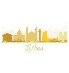 Lisbon City skyline golden silhouette vector image