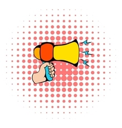 Male hand holding loudspeaker icon comics style vector image vector image