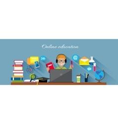 Online Education Flat Design Concept vector image vector image