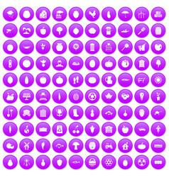 100 vitamins icons set purple vector