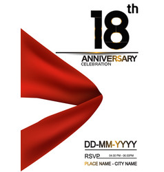 18 anniversary design with big red ribbon vector