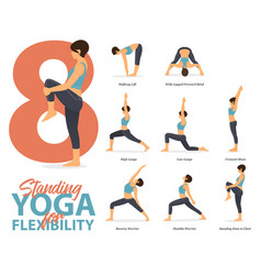 8 standing yoga poses for yoga at home in concept vector image