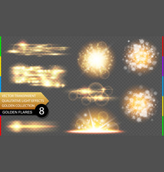 abstract golden special light effect set vector image