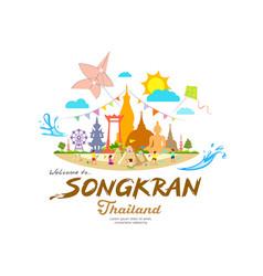 Amazing songkran festival summer sand pagoda vector