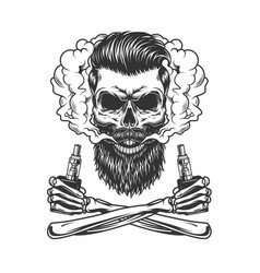 bearded and mustached hipster skull vector image