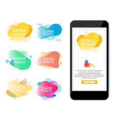 bonus program earn points label banner set vector image