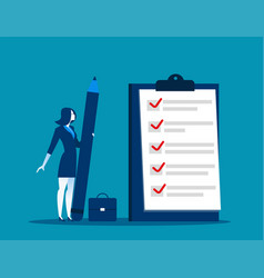 businesswoman checklist on the clipboard vector image