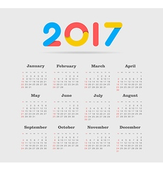 Calendar 2017 year Week Starts Sunday vector