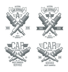 Car service spark-plug emblems vector