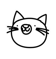 Cat face cartoon on white background thick line vector