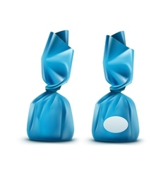 Chocolate Candy in Light Blue Wrapper vector image