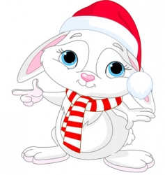 Christmas rabbit vector