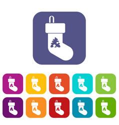 christmas sock icons set vector image