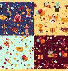 Circus themed bright seamless patterns set with vector